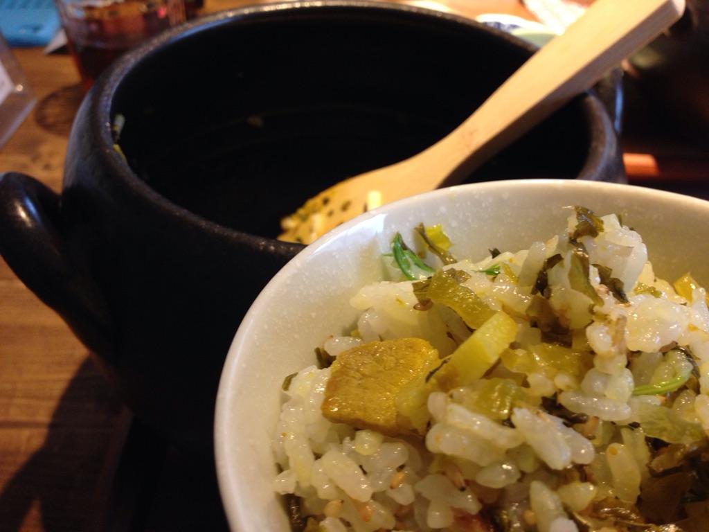 高菜と豚の土鍋ごはん2
