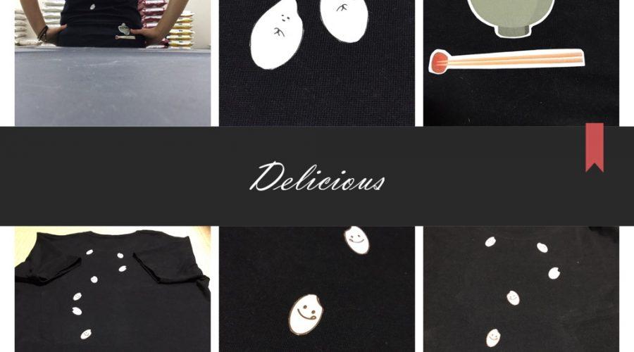 お米のイラストで「こんなの欲しいな」と思ったデザインのTシャツを作りました